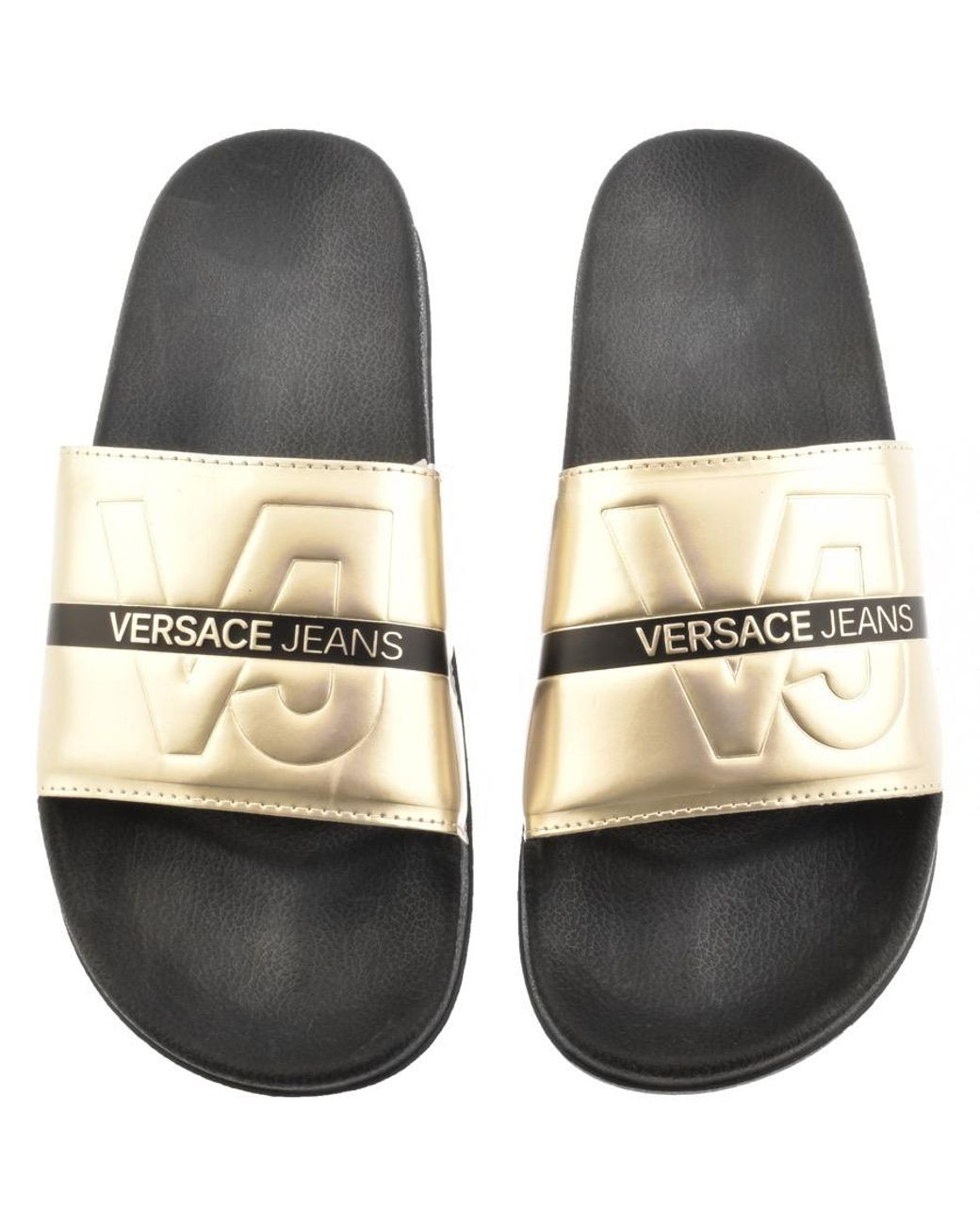 a3808313dff1 Versace Jeans Logo Sliders Gold in Metallic for Men - Save 11% - Lyst
