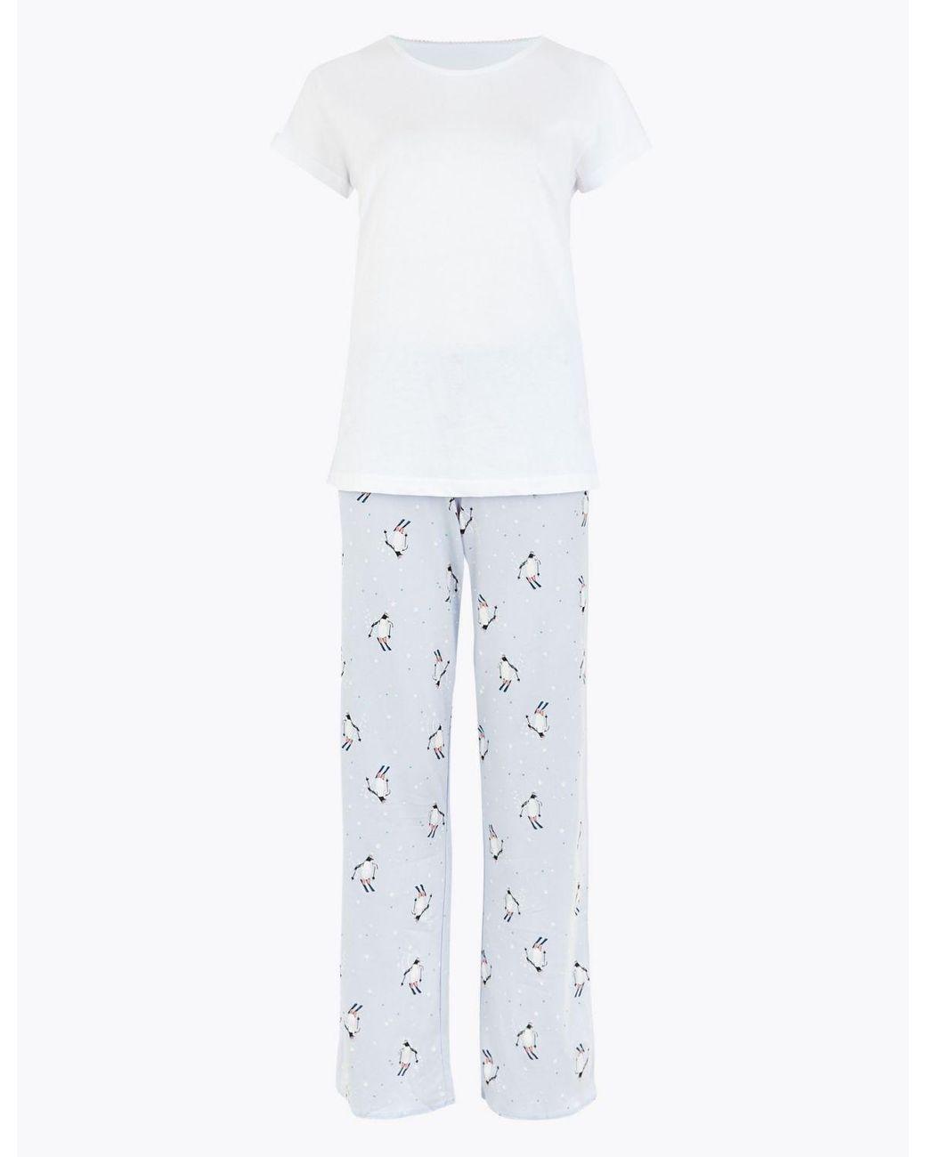 M/&S Ladies Womens Pyjama pj/'s set Navy Green Check Nightwear Night Shirt Penguin