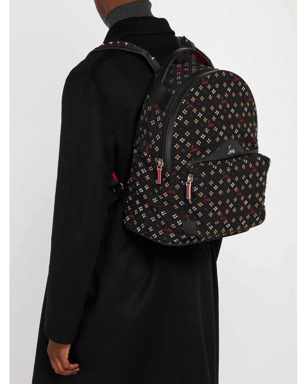 72a3960e5fa Men's Black Backloubi Metallic Embroidered Backpack