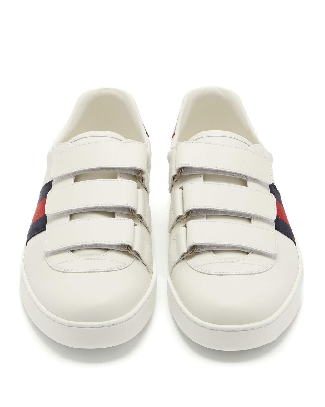Aceweb gucci new ace web-stripe low-top leather trainers in white