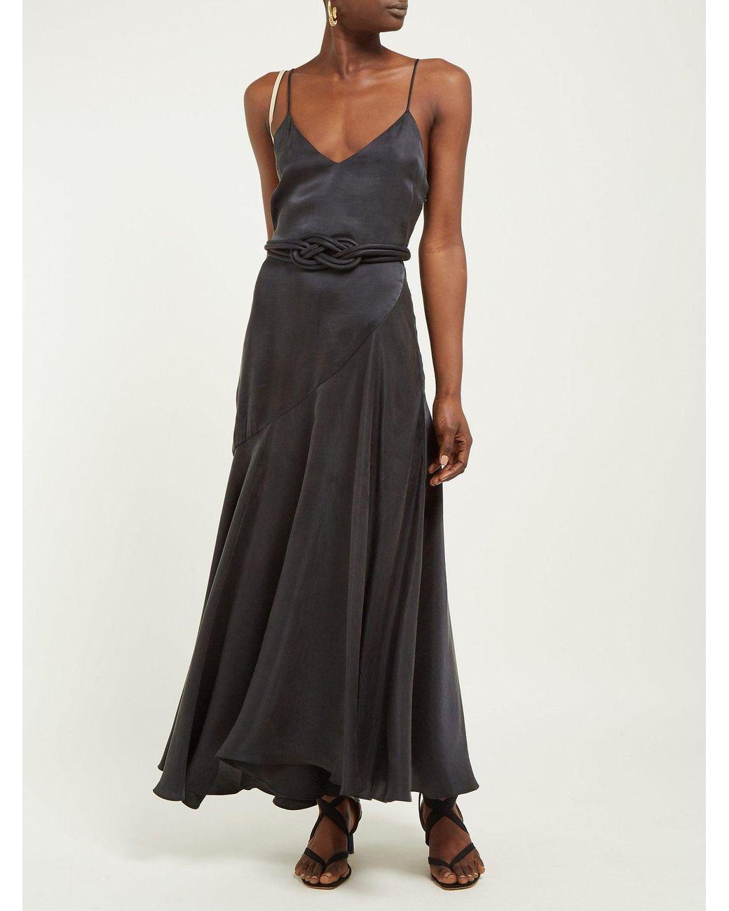 a166abf1b1dd Mara Hoffman Nina Bias Cut Satin Dress in Black - Lyst
