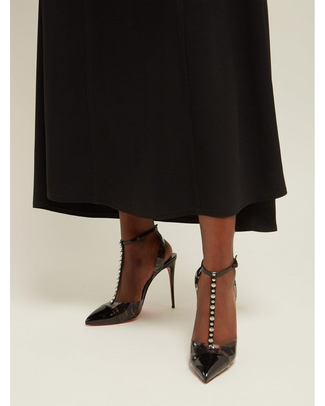 the latest 1b141 eec5e Women's Black Nosy Spikes Pvc And Leather Pumps
