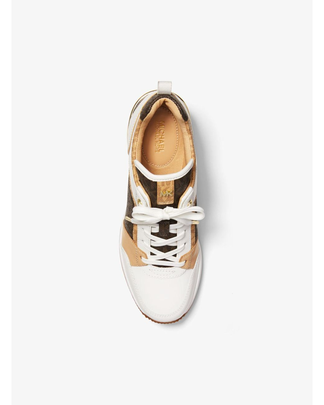 georgie logo and leather trainer