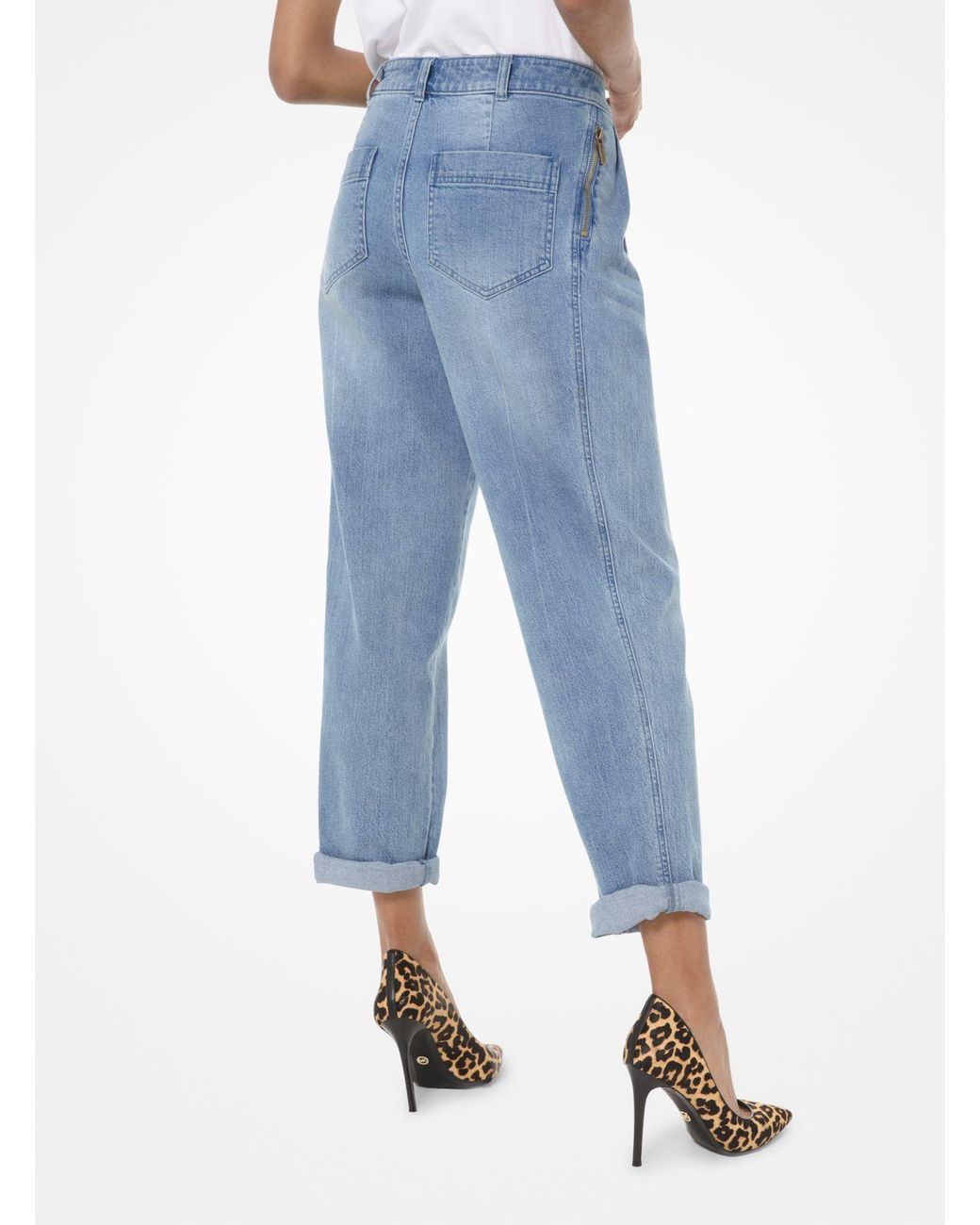 Pandapang Women Denim Simple Trousers Jeans Ripped Slim Fit Stretch Overalls