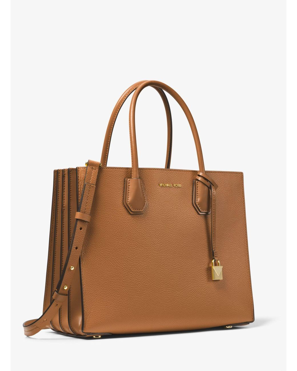 4059c50dd7b897 Michael Kors Mercer Large Pebbled Leather Accordion Tote Bag in Brown -  Save 55% - Lyst
