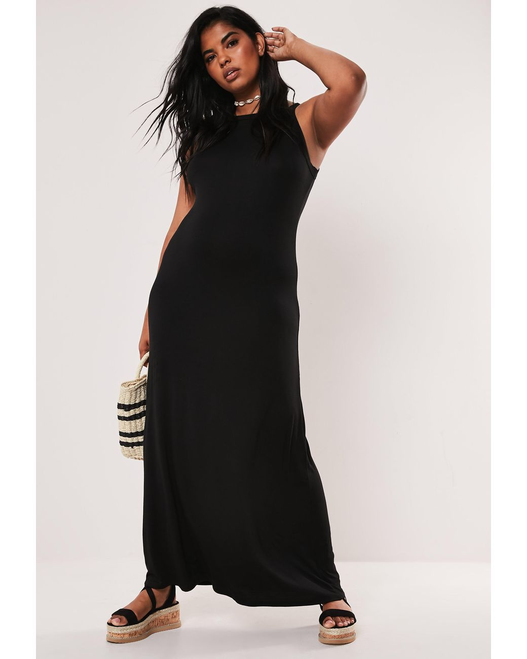 Plus Size Black Strappy Jersey Maxi Dress