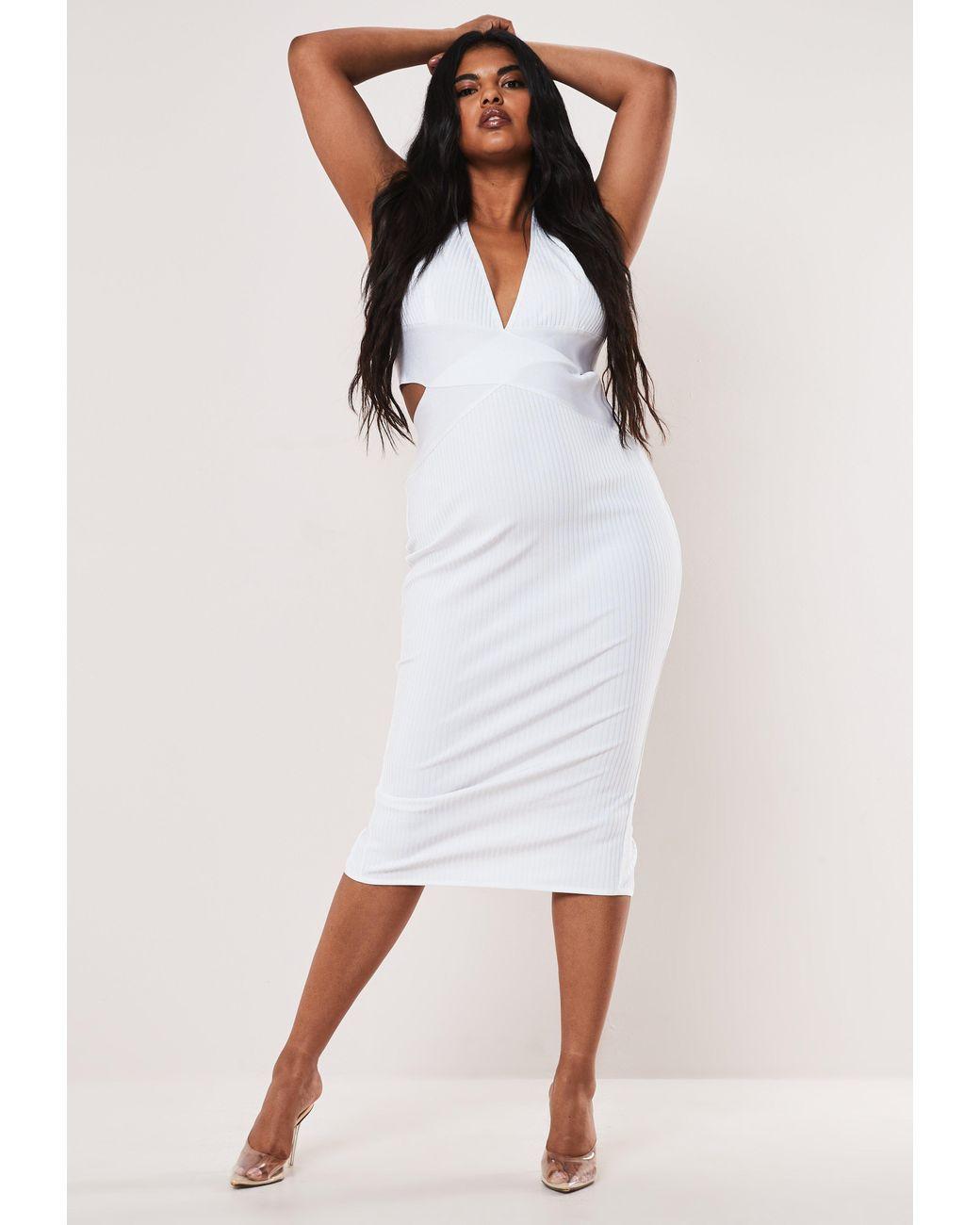 Women\'s Size White Halterneck Bandage Midaxi Dress