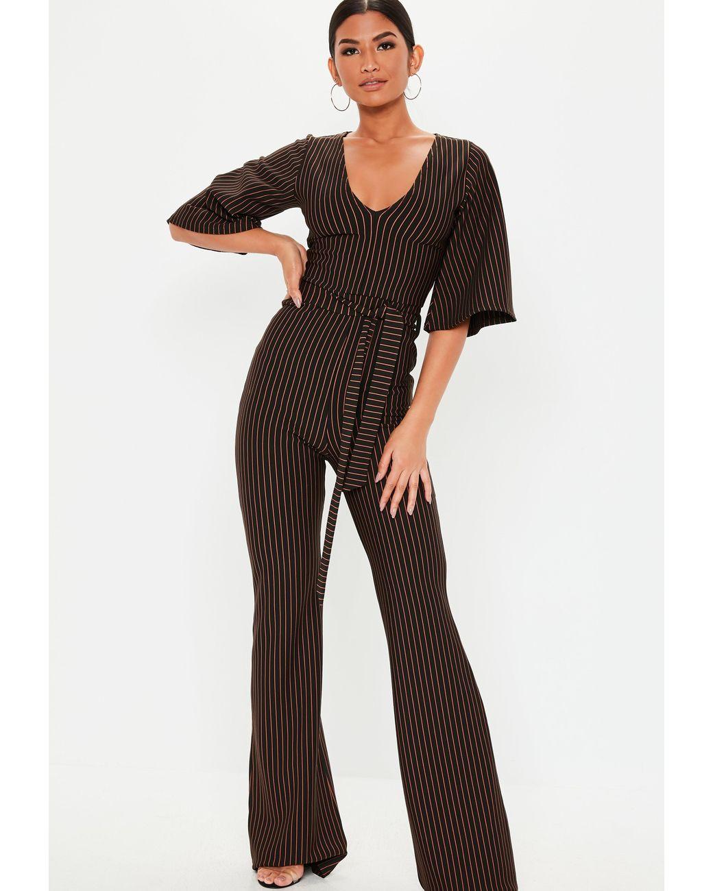 Women Mauve Black Calf Long Peg Leg Straight Pants Plunge Mesh Sleeve Jumpsuit