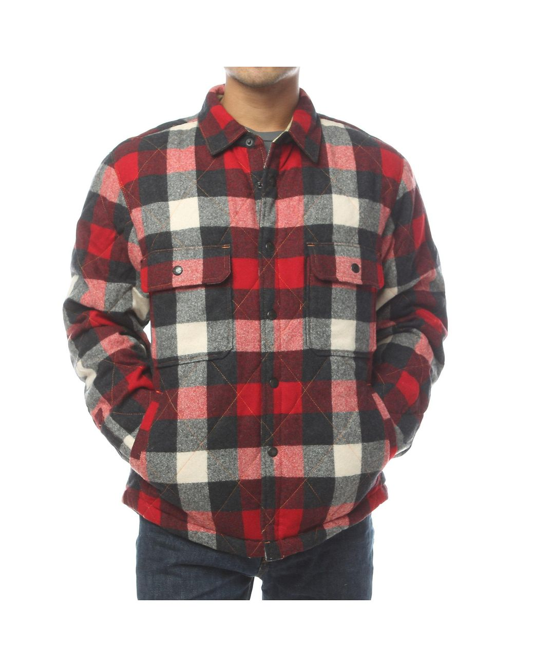 47c88eaad Men's Red Quilted Mill Wool Shirt Jac