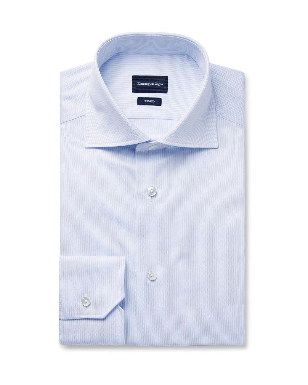 049ac4d6 Ermenegildo Zegna Blue Trofeo Slim-fit Cutaway-collar Pinstriped ...