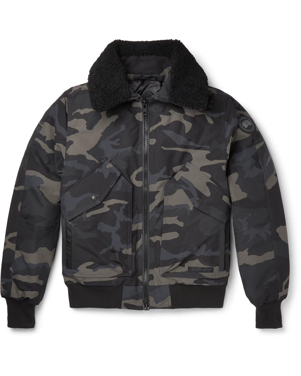 6b637479c8142 Canada Goose Bromley Shearling-trimmed Camouflage-print Shell Down Bomber  Jacket in Black for Men - Lyst