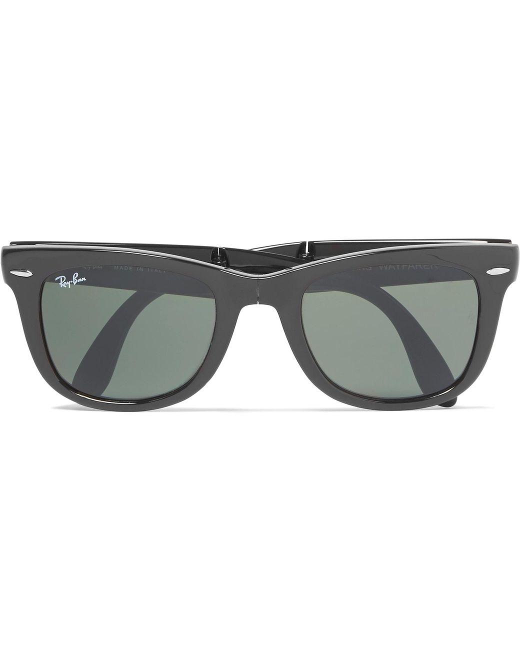 b93b2f78bbe0b Ray-Ban Wayfarer Folding Acetate Sunglasses in Black for Men - Lyst