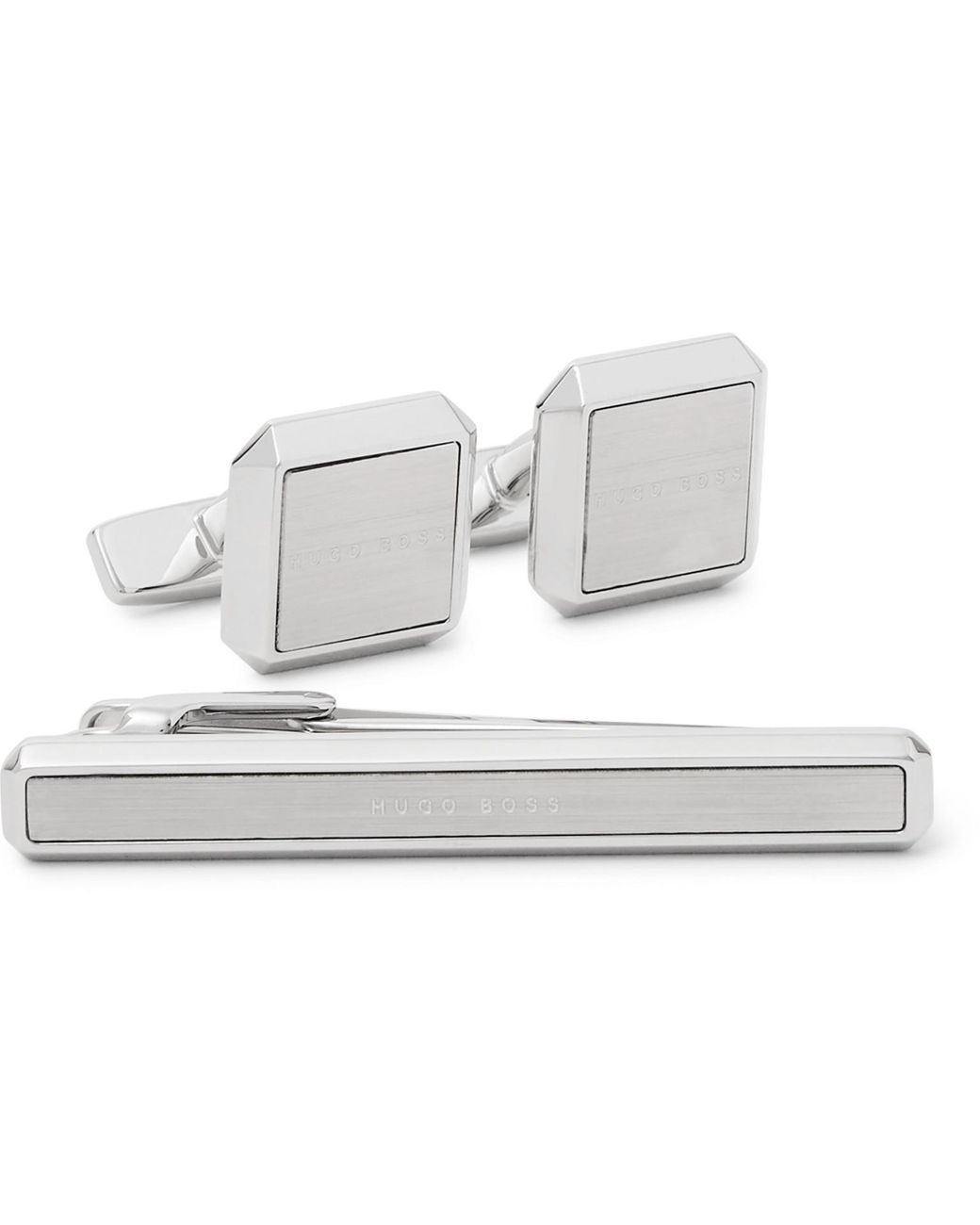 Silver Tone Rectangle Black and White Striped Cufflinks with Matching Tie Bar Clip
