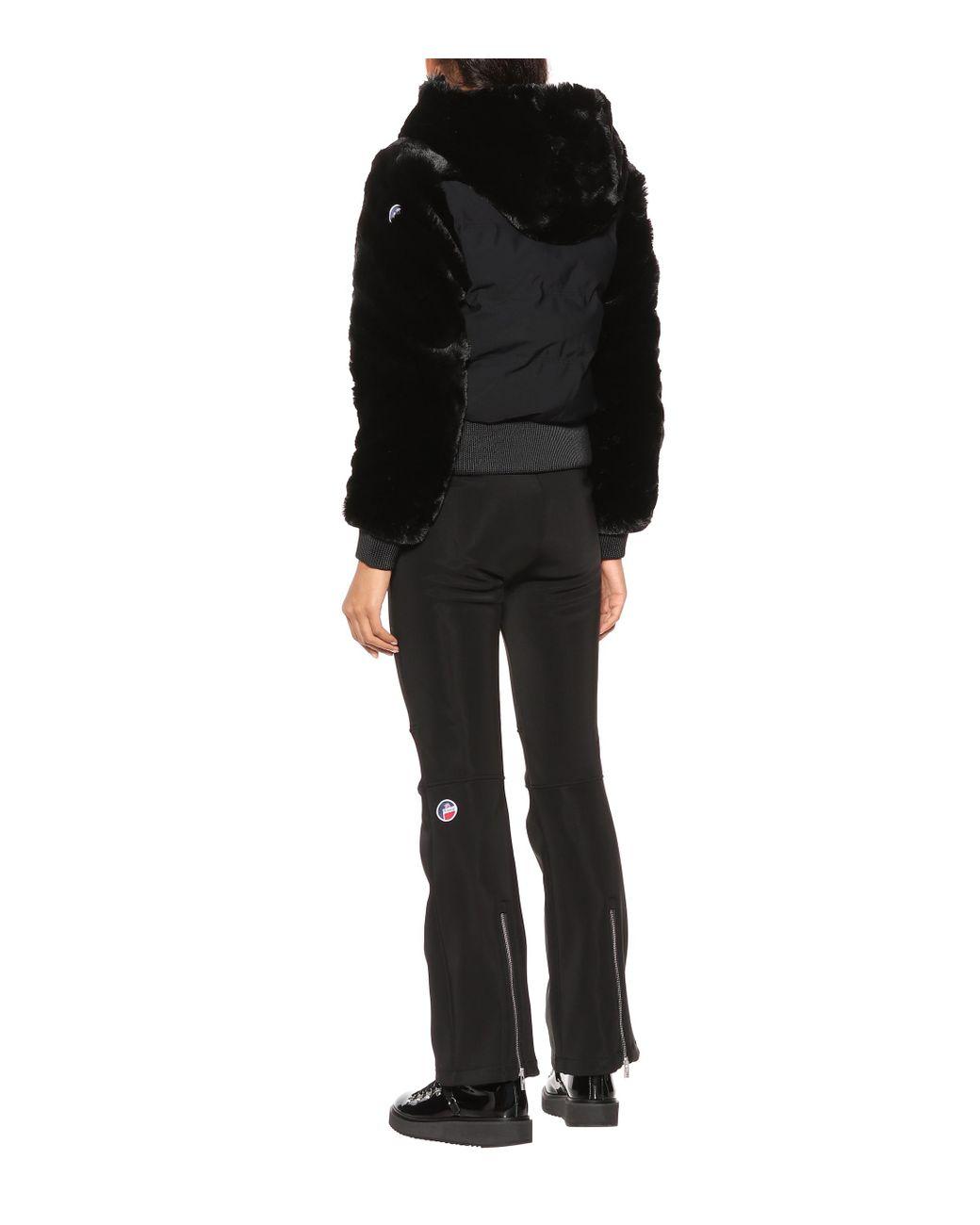 nouveau style ba239 7a01d Veste de ski Chesery à capuche à fourrure femme de coloris noir