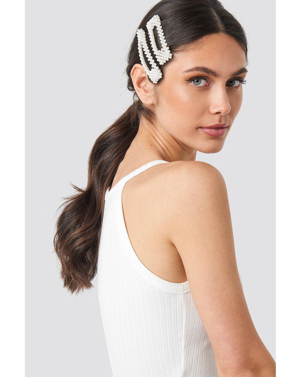 NA-KD Big Pearl Hairclips White in White - Lyst