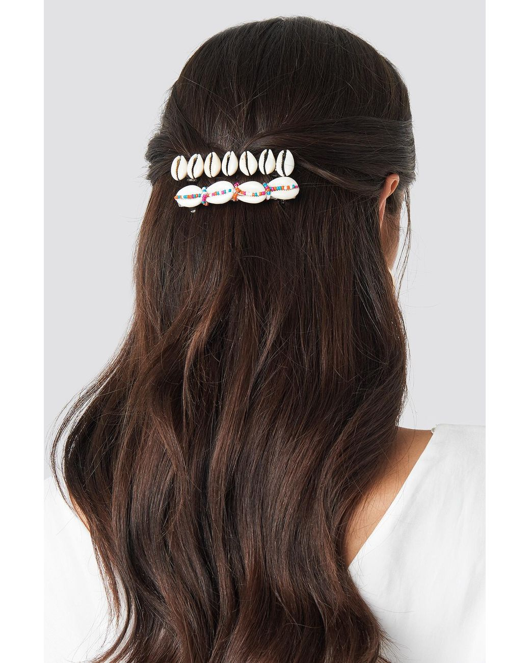 Mango Synthetic White Manila 2-pack Hairclip in Gold