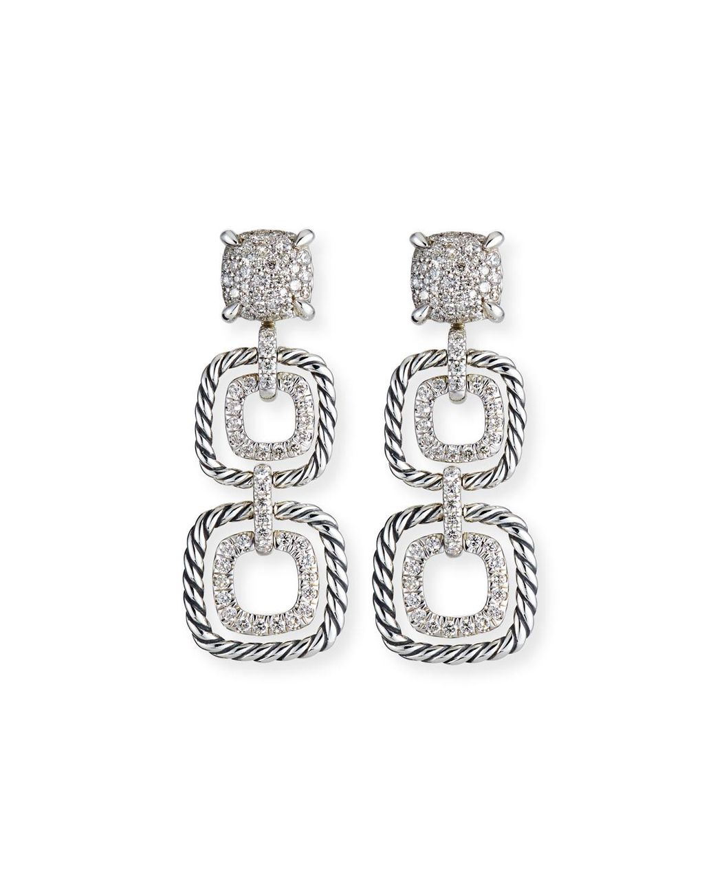New DY Chatelaine Sterling Silver Hardware With Cable Huggie Hoops Drop Earrings