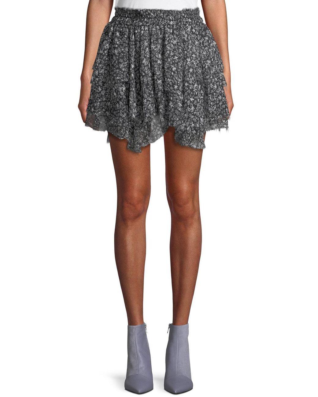 40e37816a Long-Touch to Zoom. LoveShackFancy - Black Tiered Ruffle Stars Silk Mini  Skirt ...