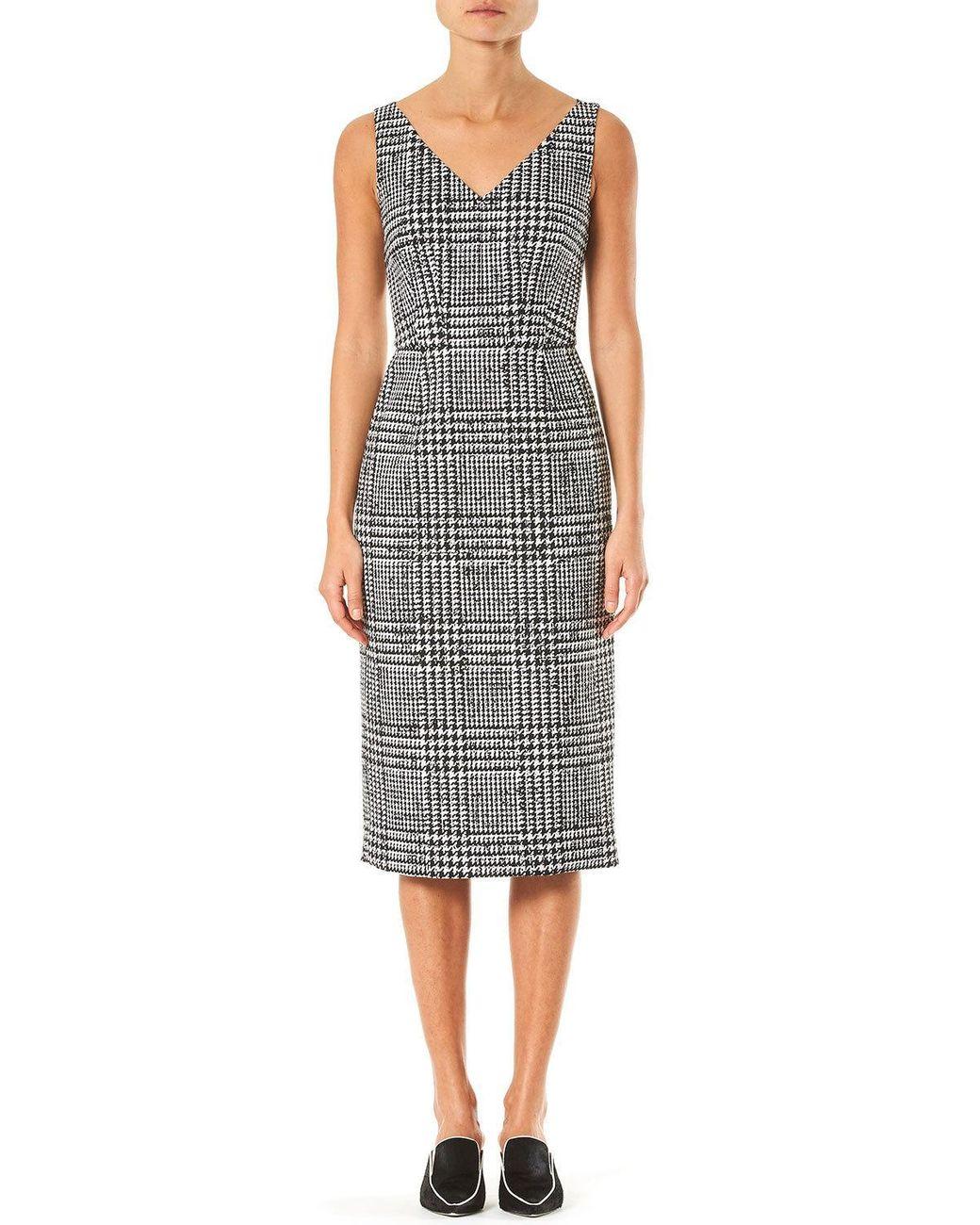 Sleeveless Plaid Wool Silk Sheath Dress