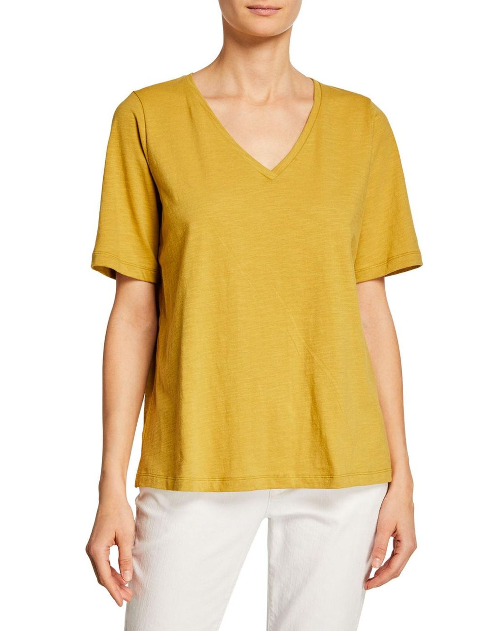 Eileen Fisher River Organic Cotton Jersey V Neck Short Sleeve Tee XS New