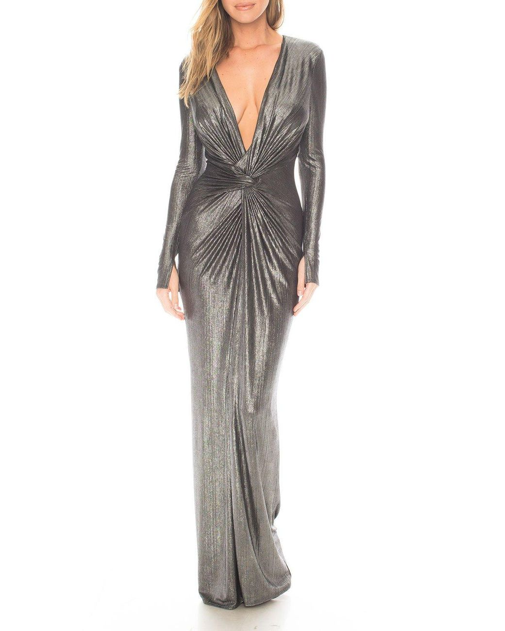 Katie May Synthetic In A Mood Draped Plisse Gown In Silver