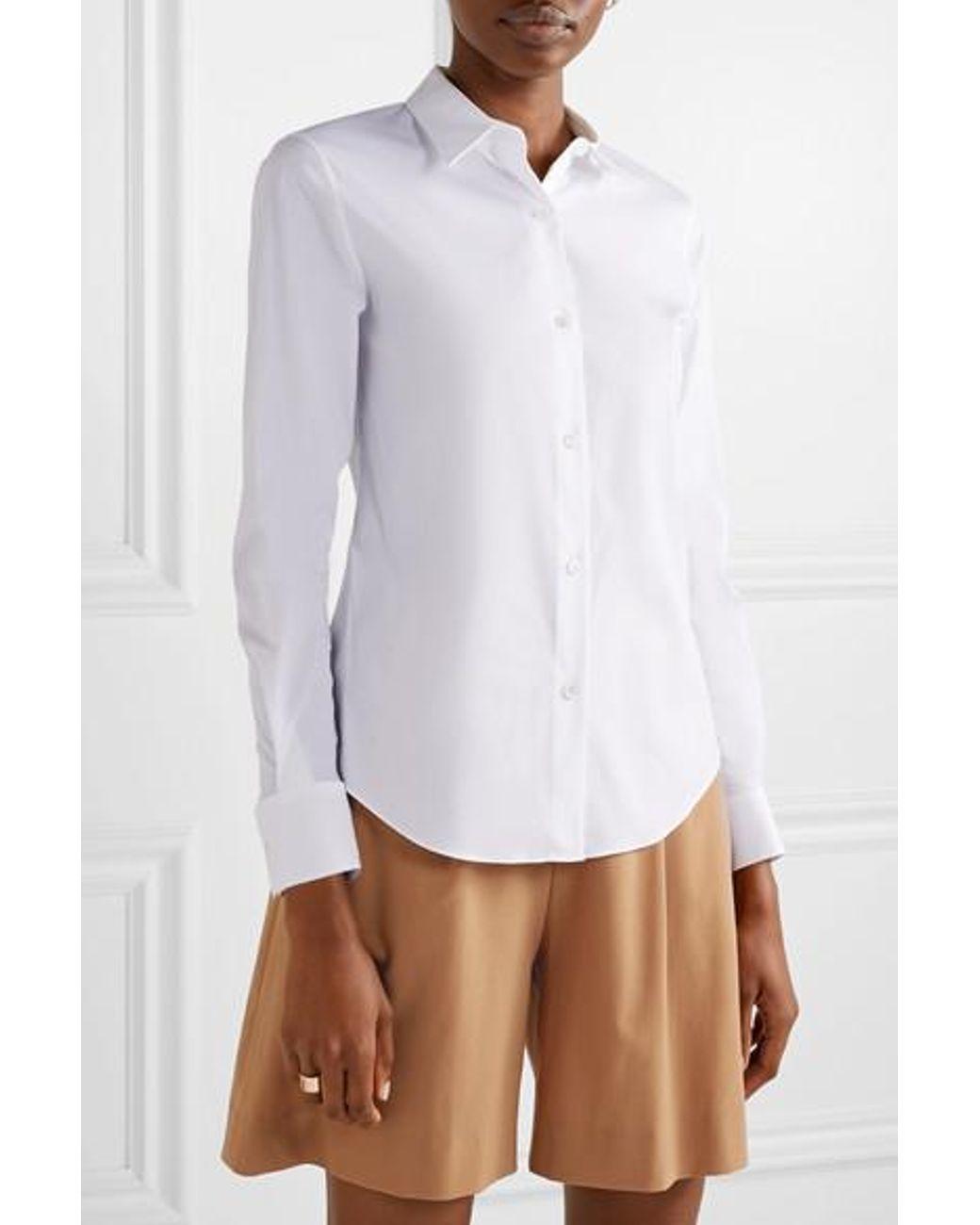 ebc9a46b19d Theory Tenia Stretch Cotton-blend Poplin Shirt in White - Lyst