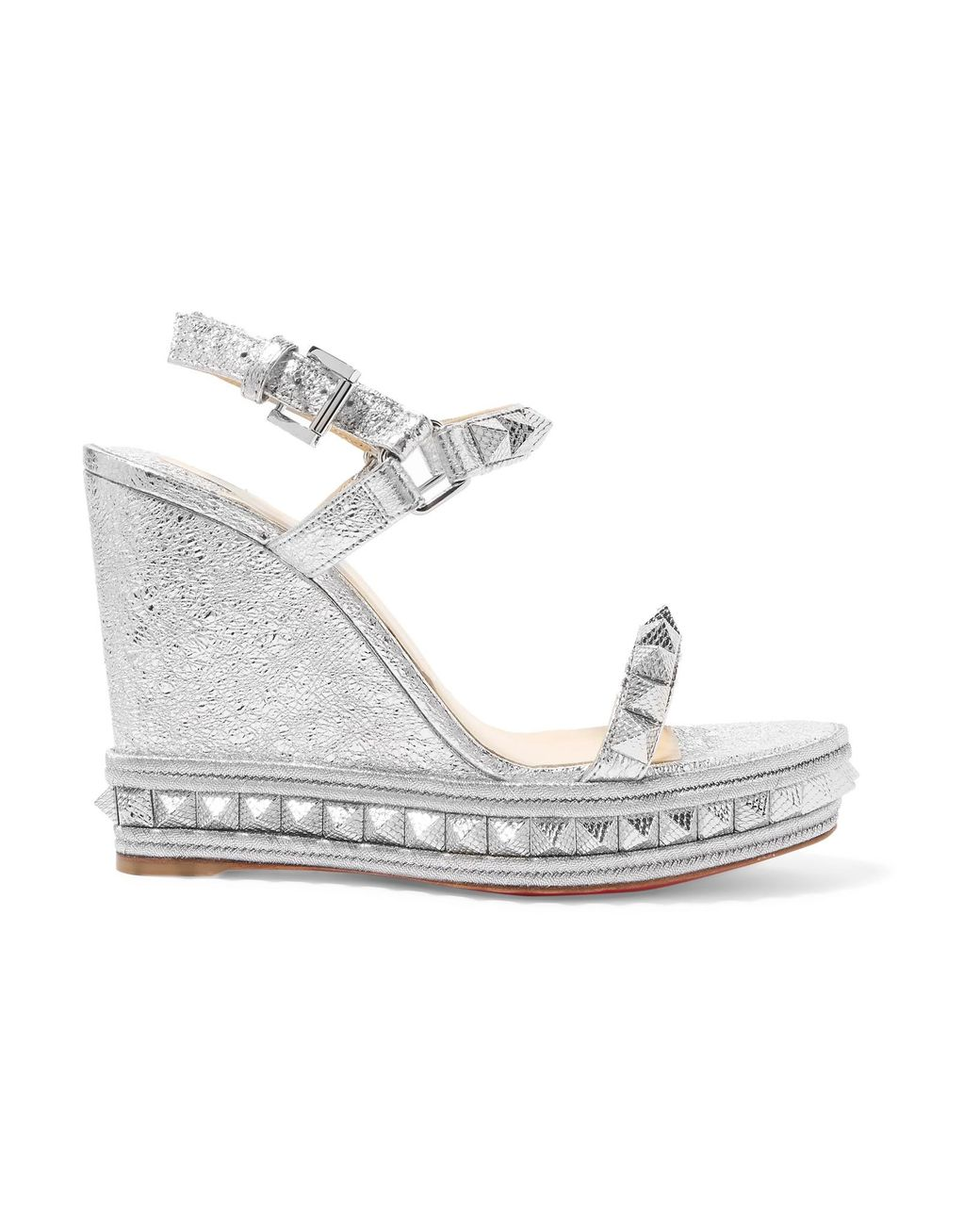 8c2f996f2676 Christian Louboutin. Women s Pyraclou 110 Spiked Metallic Textured-leather Wedge  Sandals