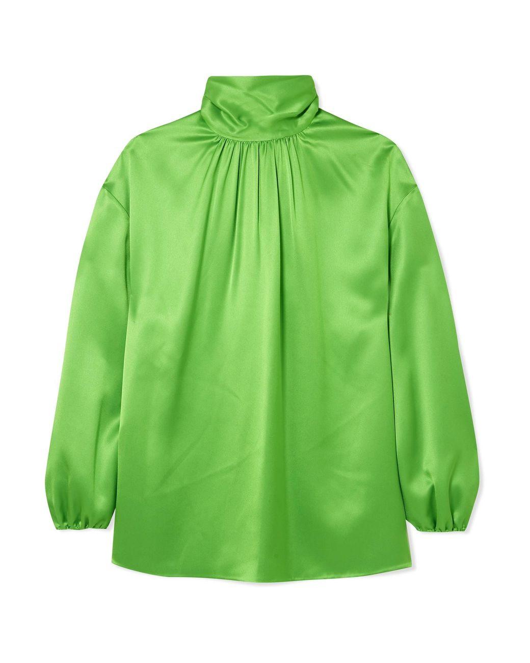 eea43882316d1 Prada Gathered Neon Silk-satin Blouse in Green - Lyst