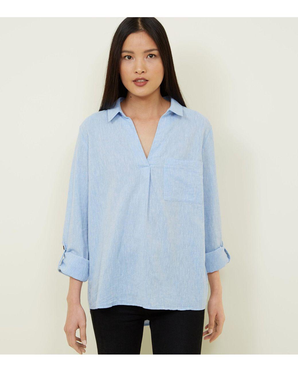 Women's Blue Linen Blend Overhead Shirt