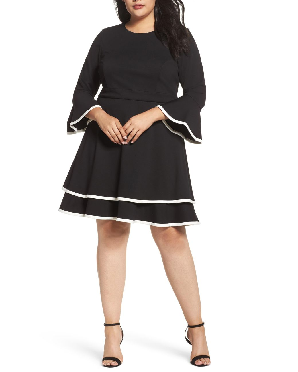 Eliza J Bell Sleeve Tiered Fit Flare Dress In Black Save