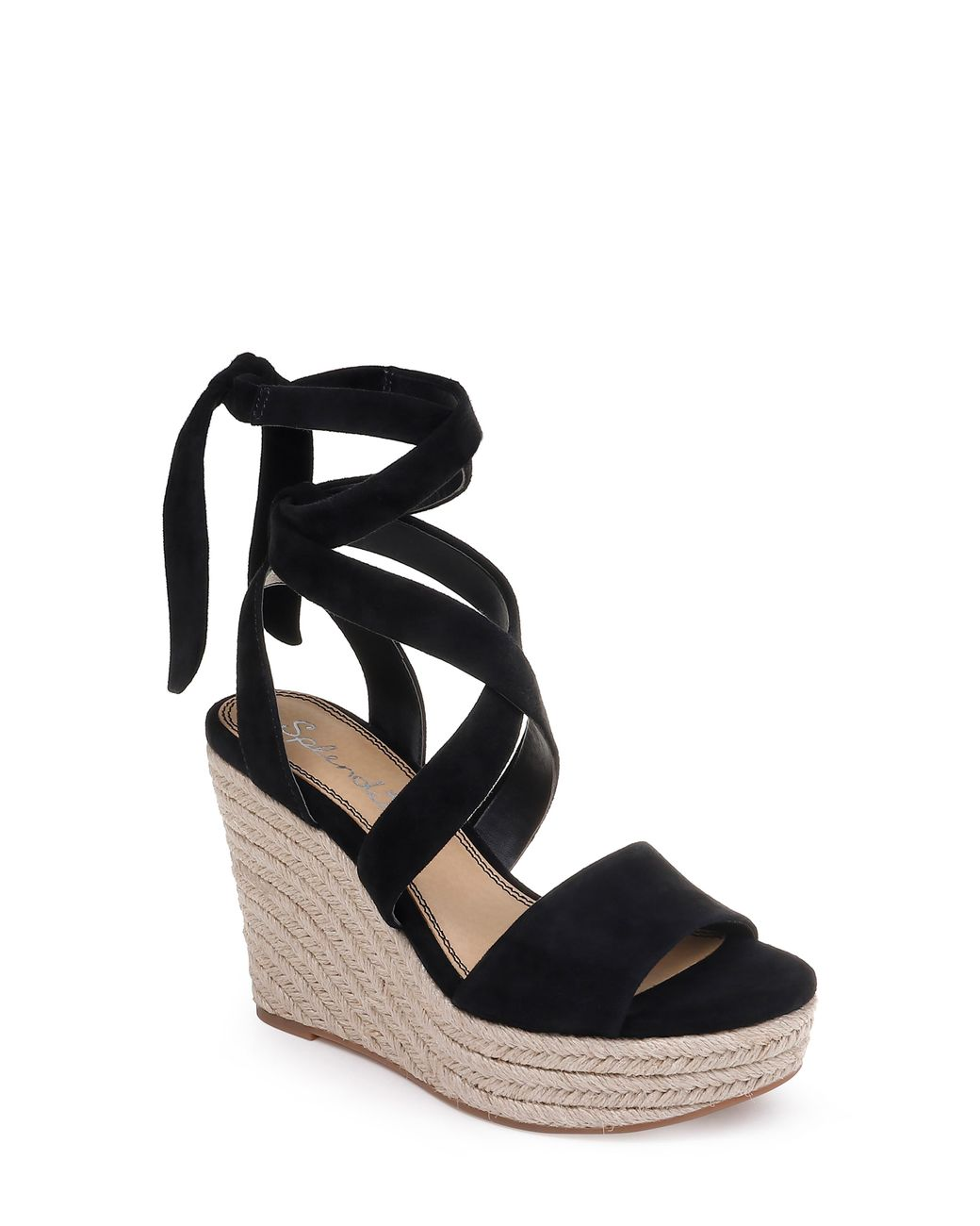 2c84beff1ba Black Women's Tessie Ankle - Tie Wedge Sandals