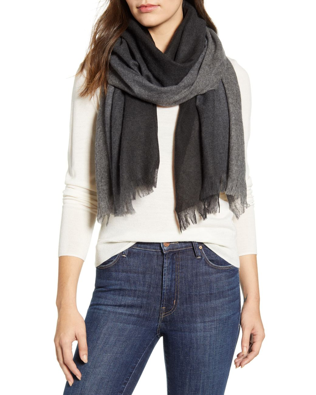 NORDSTROM Women/'s  Silk /& Cashmere Scarf Wrap Solid Ivory $99