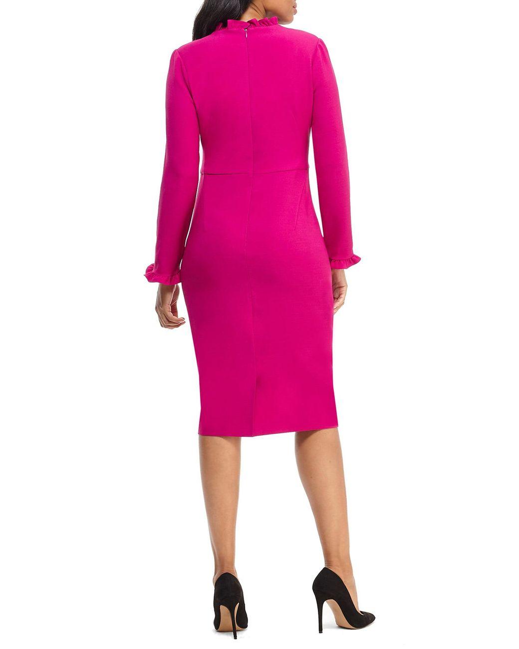 La Maison De Maggy Bondues long sleeve ruffle sheath dress