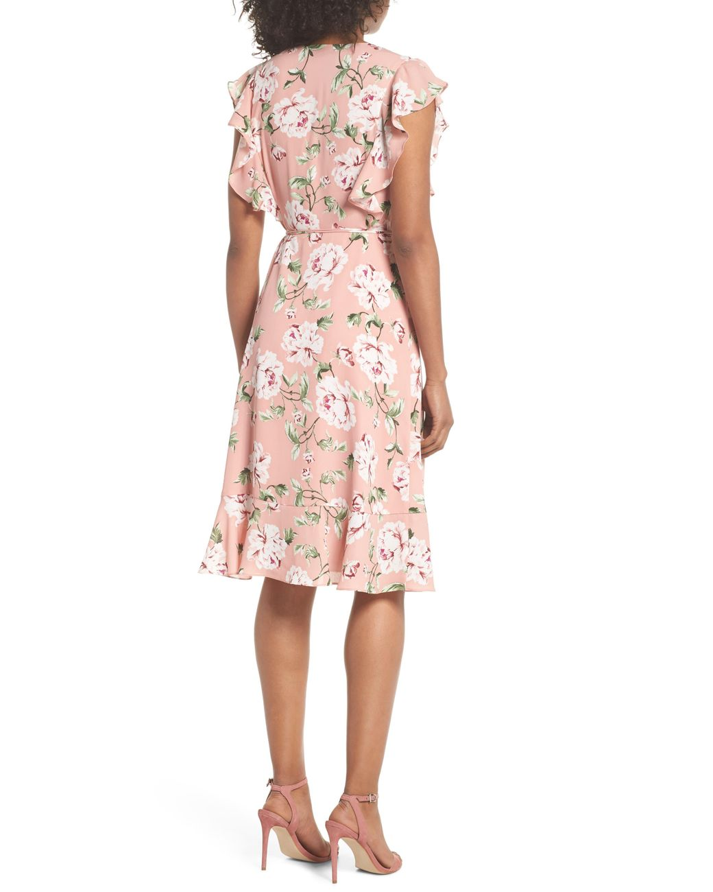 db67fecb1e59 Charles Henry Ruffle Sleeve Floral Wrap Dress in Pink - Lyst