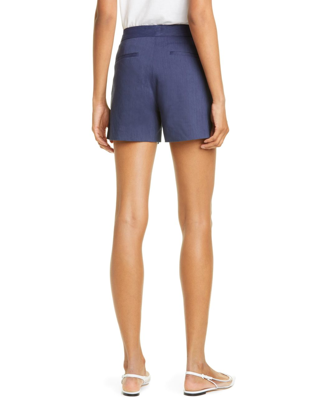 f3f5a3d8691e4 Theory Lynie R High Waist Linen Blend Shorts in Blue - Lyst