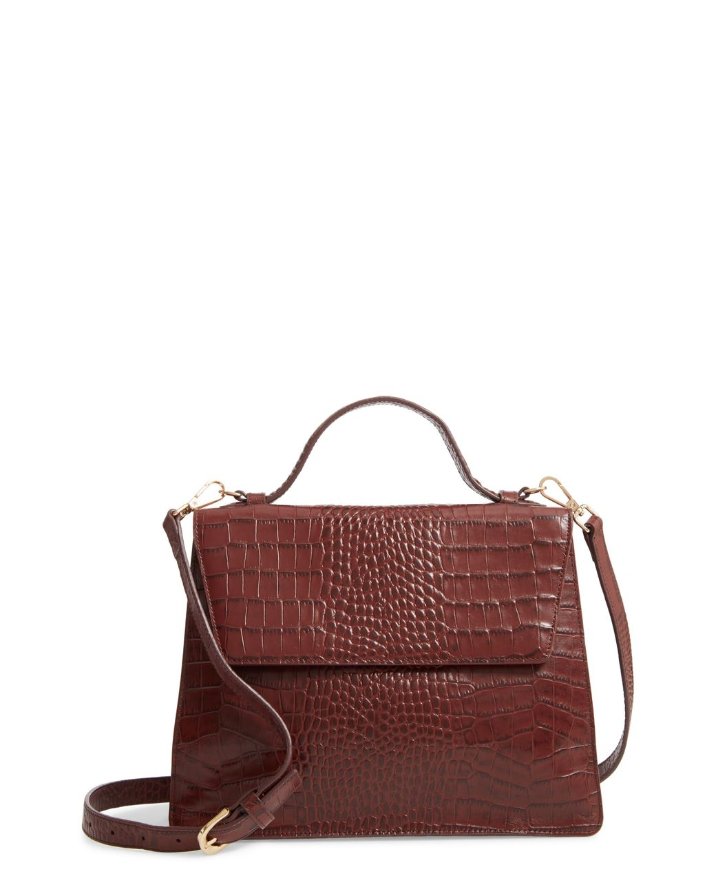 Ryder Croc Embossed Leather Top Handle Bag
