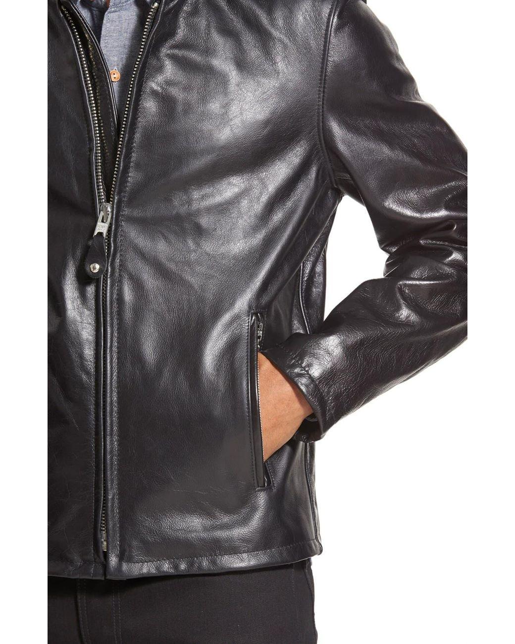 5a6e524af Men's Black Café Racer Waxy Cowhide Leather Jacket