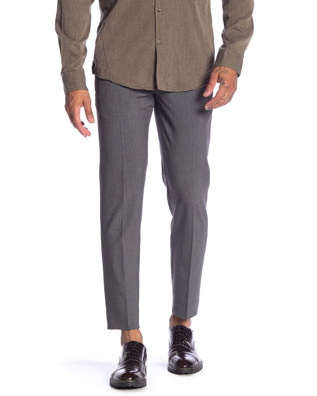 74112afc030a0 Lyst - Lindbergh Sharkskin Ankle Grazer Pants in Gray for Men