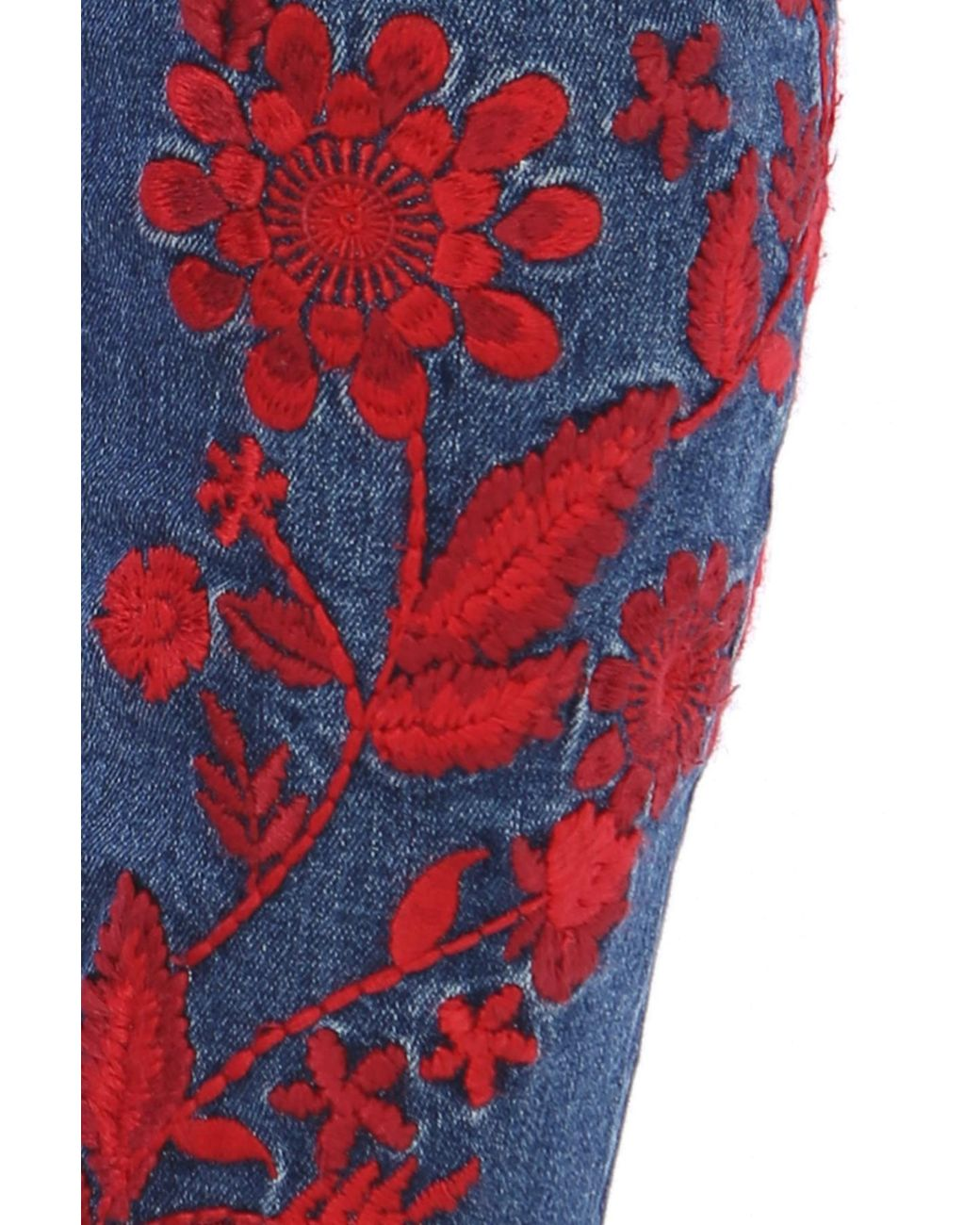 Kut from the kloth 14W straight leg blue jeans flowers embroidered