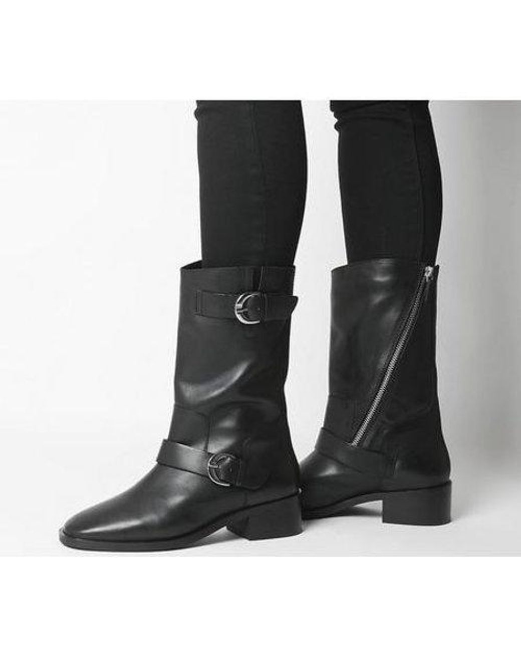 Office Kick- Calf Biker Boot in Black