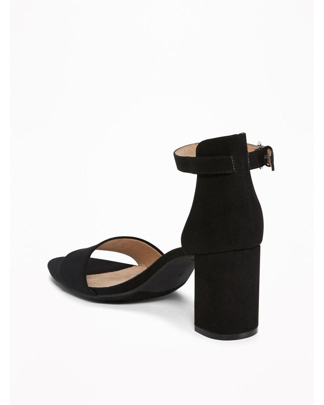d5ab643df398 Lyst - Old Navy Faux-suede Block-heel Sandals in Black