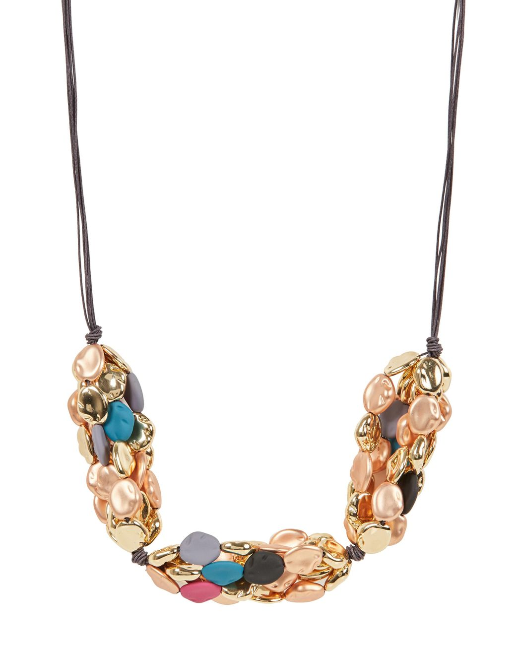 Oliver Style Blue Chunky Wooden Bead Necklace Grey /& Gold Tone Snake Chain
