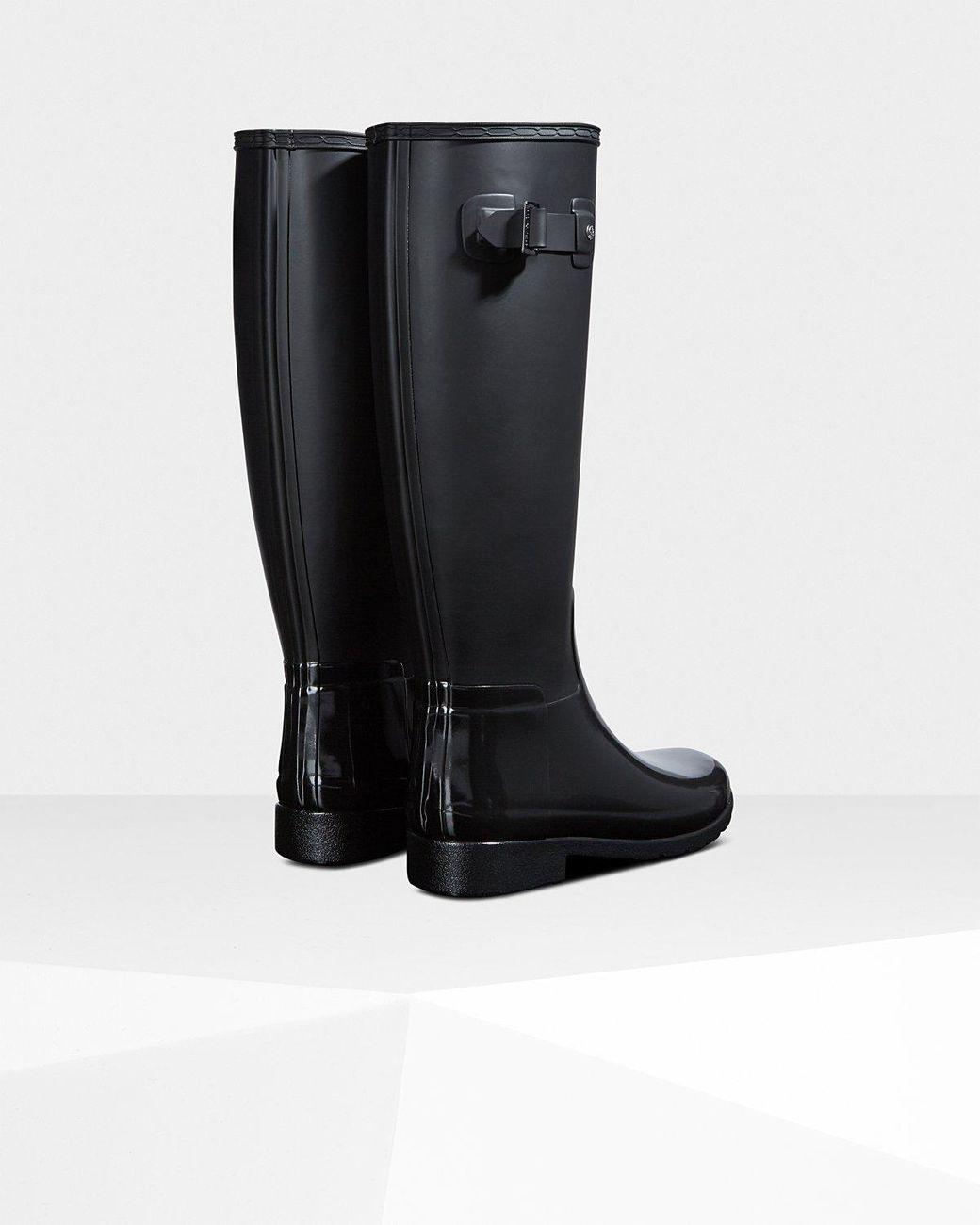633946e4ef9 Black Women's Refined Slim Fit Gloss Duo Tall Rain Boots