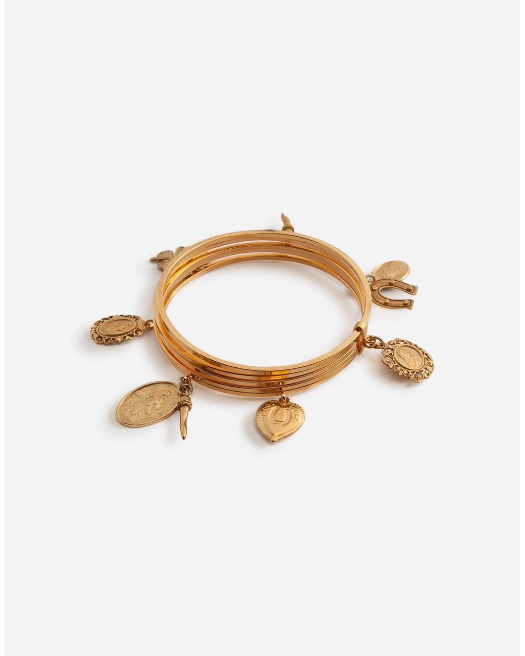 L NEW $250 DOLCE /& GABBANA Bracelet Ball Beaded Brown Pull Strap Gold Band s