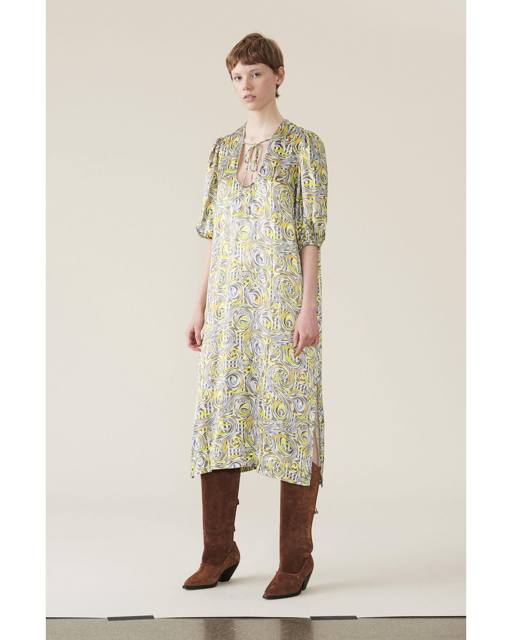 0307db9ba1f1 Ganni Heavy Satin Long Dress - Lyst