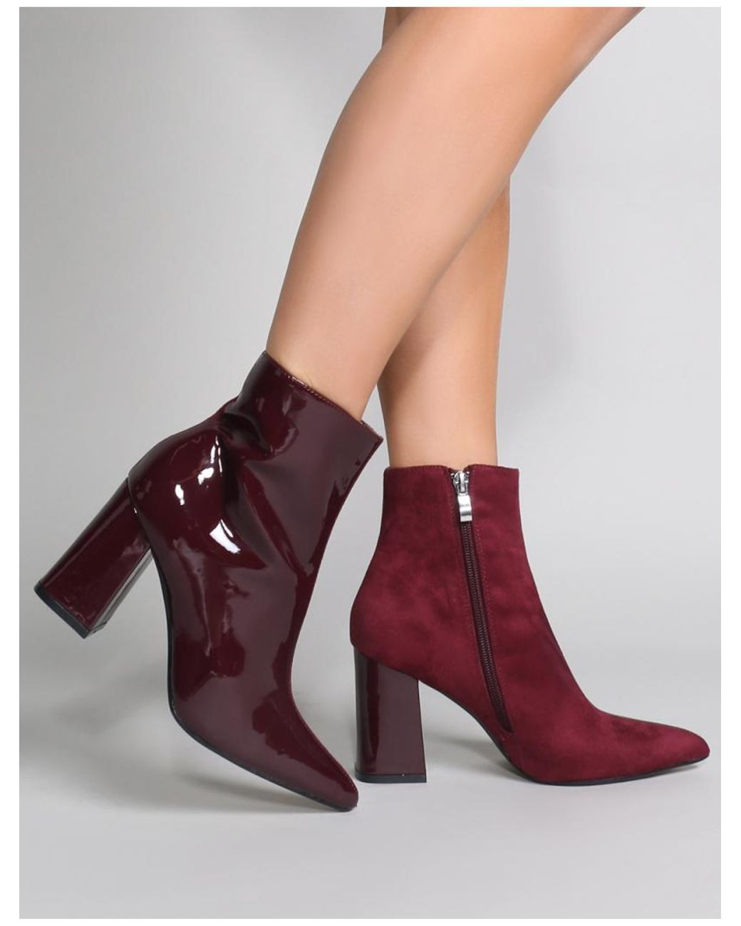 2356e3c99a1 Women's Chaos Contrast Pointed Toe Ankle Boots In Burgundy Patent And Faux  Suede