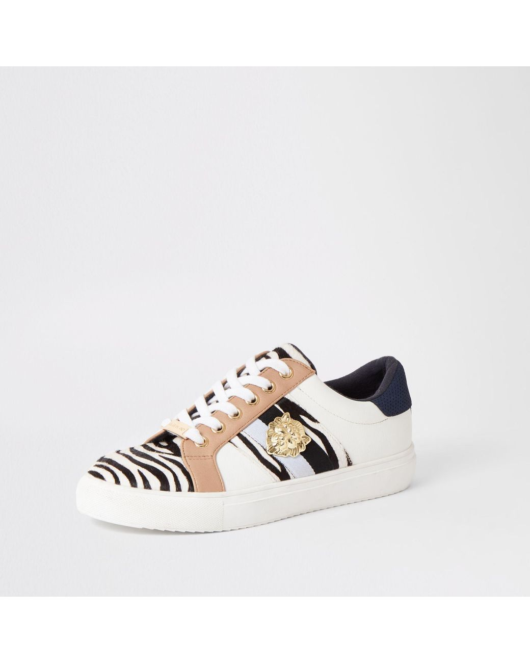 1aa857bedeee River Island Zebra Print Lace-up Trainers in Black - Lyst