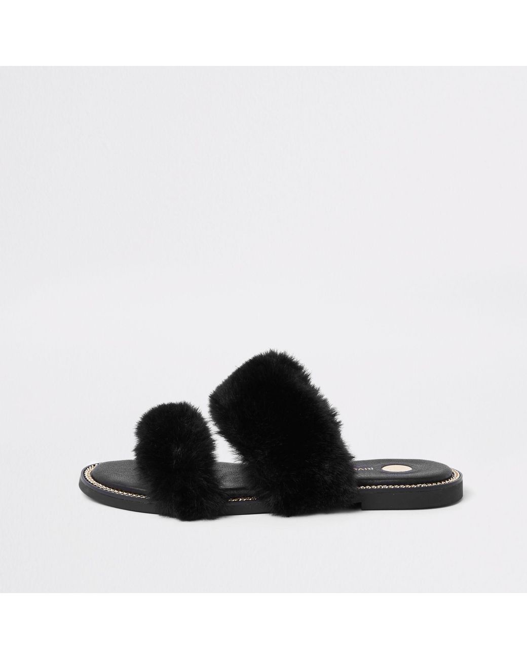 0573d969ba7 River Island Faux Fur Chain Trim Sandals in Black - Lyst