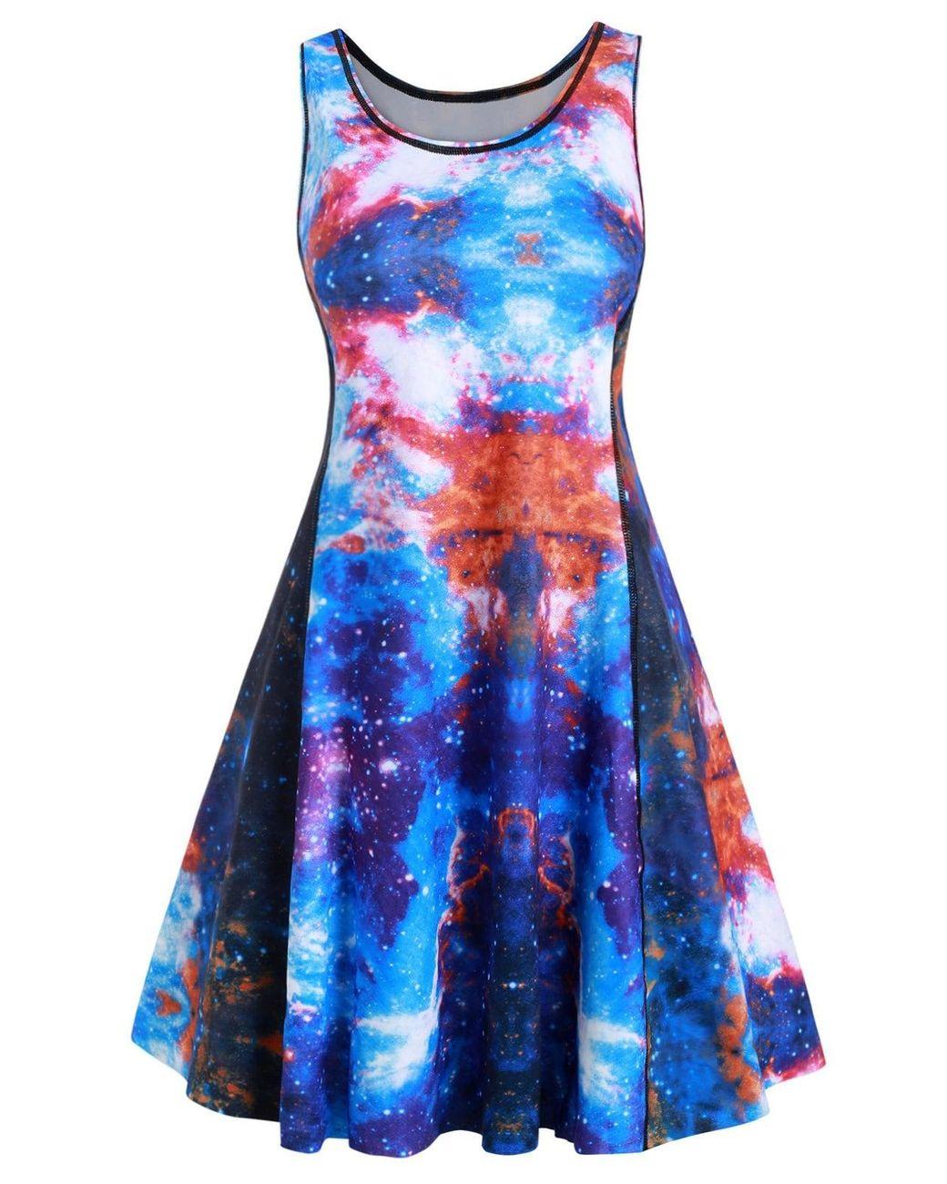Women\'s Blue Plus Size 3d Galaxy Jellyfish Print Mini A Line Dress