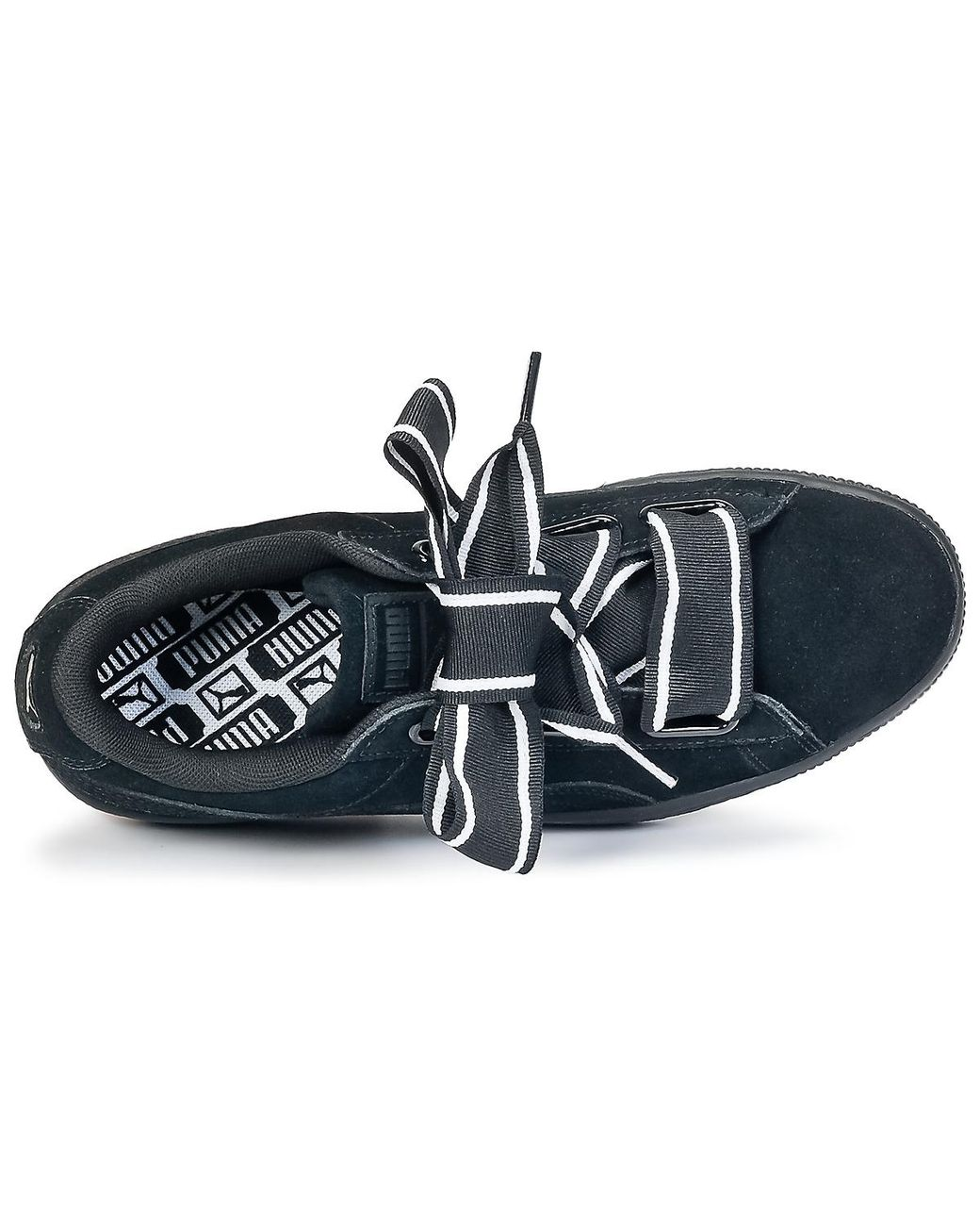 Puma Basket Satin Lyst Heart ShoestrainersIn Black v0Nwnm8O